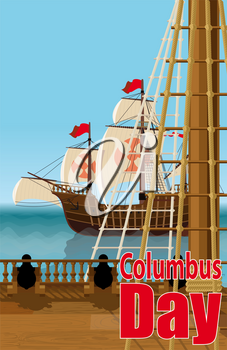 Columbus Day. The view from the deck of one of Columbus ships over the ocean and neighboring Caravel