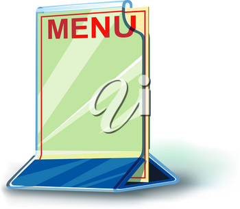 transparent Plexiglas menu with shadow and blank space for text