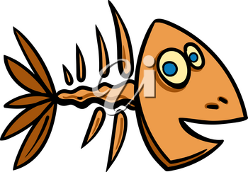 simple skeleton of fish with bones isolated on white background
