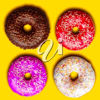 a small set of four bright freshly baked donuts with a frosting on a yellow background