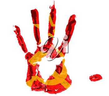 bloody handprint with the image of a sickle hammer and a star from the USSR flag visible on it