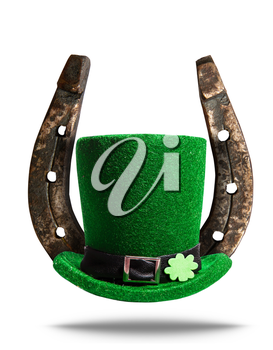 Leprechaun green hat with clover symbol and steel horseshoe luck symbol for St. Patrick's Day isolated on white background