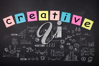 Business concept - word ' Creative', sketch with schemes and graphs on chalkboard