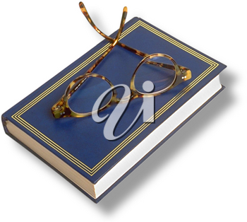 Royalty Free Photo of a Book With Reading Glasses on Top