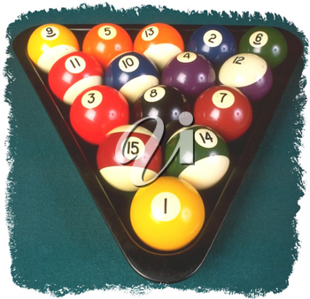 Royalty Free Photo of a Triangle of Pool Balls on a Pool Table
