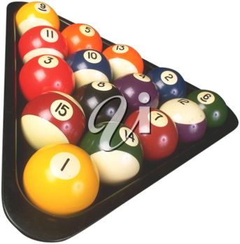 Royalty Free Photo of a Triangle of Billiard Balls