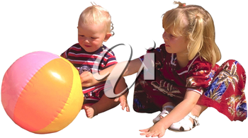Royalty Free Photo of a Children Playing with a Blowup Ball