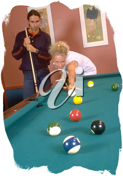 Royalty Free Photo of a Couple Playing Pool