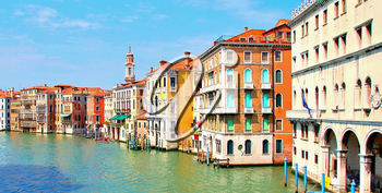 Venice Grand Canal view with buildings. Vivid colors.