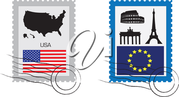 Set of various stamp from USA and EU with main landmark.