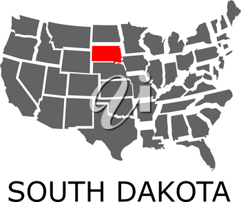 Bordering map of USA with State of South Dakota marked with red color.