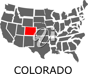 Bordering map of USA with State of Colorado marked with red color.