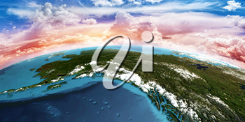 Alaska. Elements of this image furnished by NASA. 3D rendering