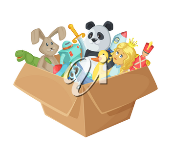 Children toys in cardboard box. Funny vector illustration isolate on white background. Baby toys rocket and soldier in box, dinosaur and sword toys