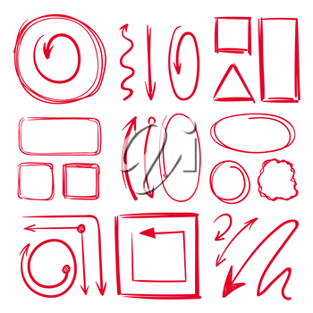 Marker, underlines and different doodle frames with arrows. Vector hand drawn collection marker line sketch drawing illustration