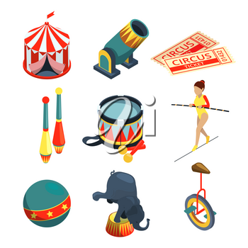 Funny circus illustrations in cartoon style. Lion trainer, clowns juggling balls. Vector pictures set. Circus ball for entertainment and performance