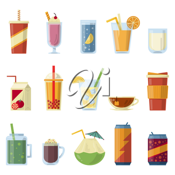 Illustration with non alcoholic drinks. Vector pictures in cartoon style. Set of beverage drinks water amd juice, lemonade and soda