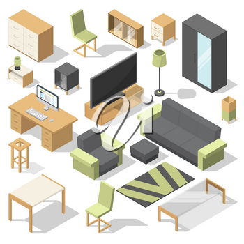 Furniture set for bed room. Vector isometric elements for modern home. Collection of furniture for home and office illustration