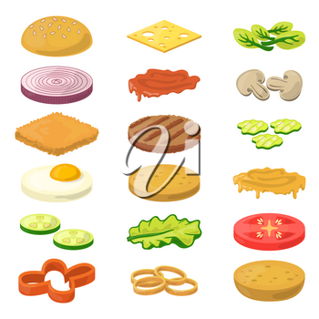 Vector illustration of different burgers ingredients in cartoon style. Fast food pictures. Ingredient food for snack burger cartoon