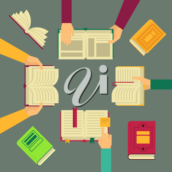 Vector illustrations. Hands hold opened and closed books. Human arm and books