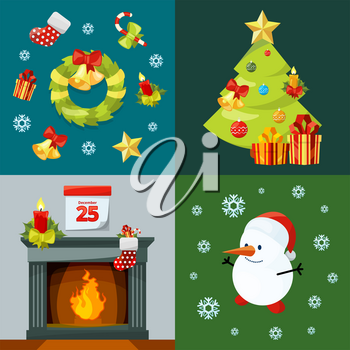 Conceptual pictures of christmas celebration. Vector illustrations in cartoon style. Christmas winter card with fireplace and gift, snowman and xmas tree