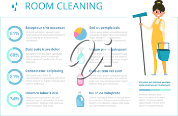 Infographic design template for cleaning service industry. Vector washing cleaner room illustration