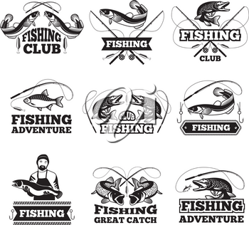 Monochrome pictures of salmon, water and others symbols for fishing club. Badges or labels design template with place for your text. Fishing adventure monochrome collection logotype illustration