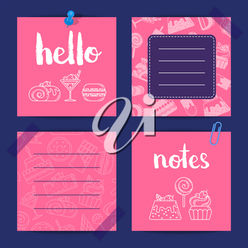 Vector notes templates set with linear and flat style sweets icons with cute lettering illustration