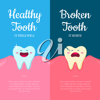 Vector concept illustration with cartoon healthy and ill broken teeth in mouth with gums and place for text