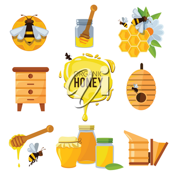 Colorful pictures of honey bumble and different others symbols of apiculture. Beekeeping and honeycomb, insect and sweet yellow honey illustration
