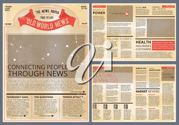 Vector design template of vintage newspaper. Old paper daily news columns, newsprint page illustration