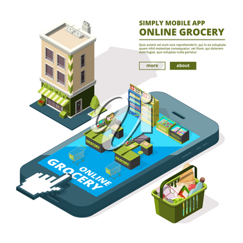 Concept illustration of online shopping. Buying different tools use smartphone. Market online buy with phone or smartphone vector