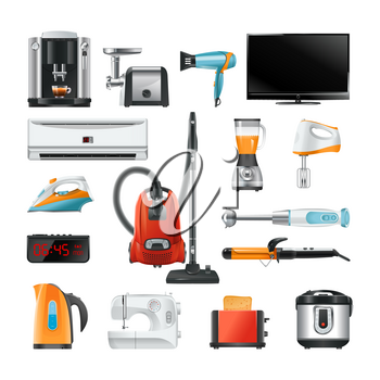 Electronic household equipment isolated on white. Equipment of household electric, blender and vacuum, vector illustration