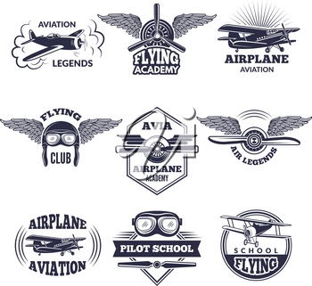 Labels at aircrafts theme. Vector monochrome illustrations of airplanes. Airplane and aircraft emblem vintage