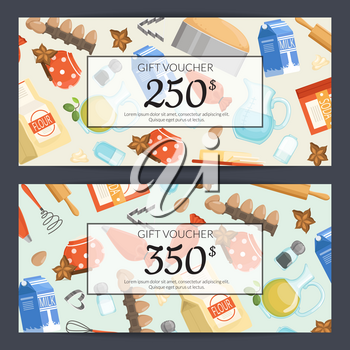 Vector cooking ingridients or groceries discount or gift card templates illustration