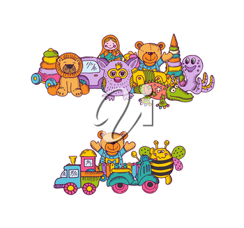 Vector set of big kid toys piles hand drawn and colored isolated on white background. Illustration of toy kid for play, hand sketch bear and pyramid