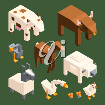 3D low poly animals. Vector isometric farm animals isolate. Illustration of bull and goose, goat and chicken