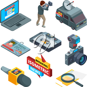 Breaking news symbols. Isometric pictures of writers videographers and journalists. Breaking news and media tv, press journalist. Vector illustration