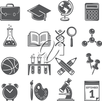 Back to school icons. Monochrome school symbols isolate. Education science, teaching icon set, globe and palette. Vector illustration
