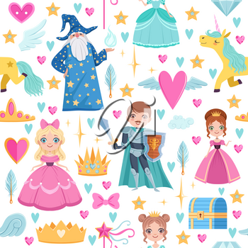 Seamless pattern with different magic elements. Fairytale illustrations in cartoon style. Magic fantasy dream seamless pattern with unicorn