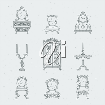 Home antique furniture chairs, dresser, bedside table, mirror. Vector hand drawing illustrations in baroque style. Old furniture, chandelier and clock drawing sketch