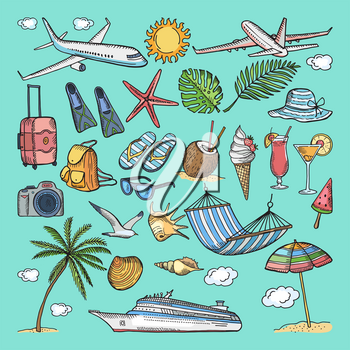 Different hand drawn coloring summer icons set. Tropical illustrations. Slippers, cocktail, bikini and other vacation ellements. Ice cream and camera, travel tropical with cocktail and beach