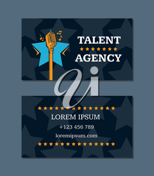 Vector talent agency business card template with retro microphone and stars. Talent agency card with microphone illustration