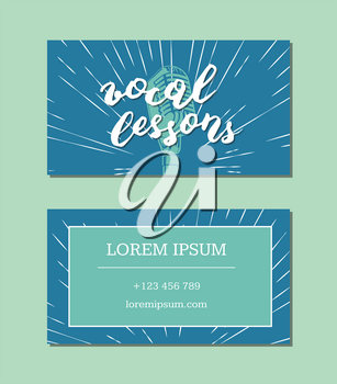 Vector vocal lessons business card with lettering and microphone on retro sunburst background. Card music vocal lesson illustration