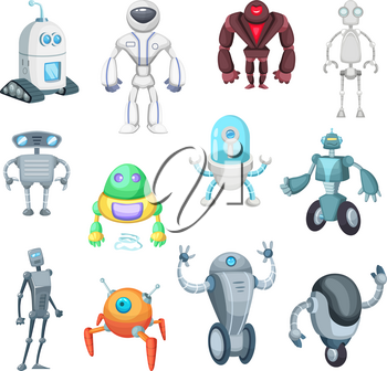 Cute mechanic monsters. Toys for kids. Characters of robots. Vector pictures in electronic cartoon style. Character cyborg robots illustration