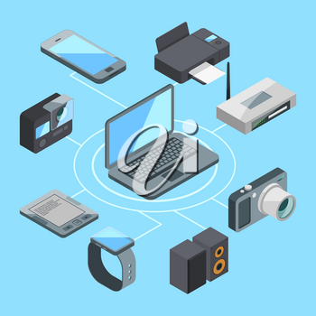 Wireless or wifi connection near laptop and other computer gadgets. Modem and router computer gadget connection, vector illustration