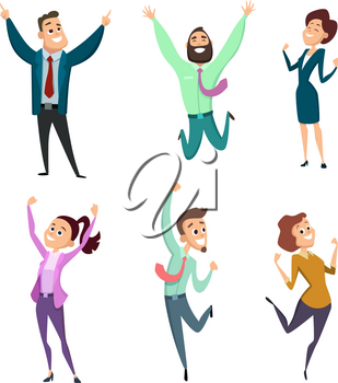 Different businessmen in action pose. Vector pictures of funny characters. Businessman character pose, young adult woman cheerful illustration