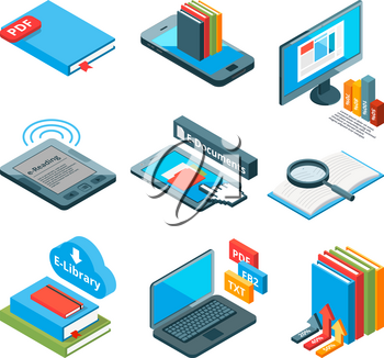 Isometric icons of electronic books and other gadgets for reading. Vector electronic book tablet, ebook and e-reader illustration