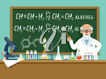 Professor in his laboratory for experiments. Medical and chemical ingredients. Vector background illustration. Cartoon professor experiment chemistry in lab