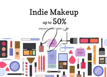Vector flat style different makeup and skincare sale background illustration